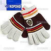 Детские шерстяные перчатки с начёсом Korona E5256-1-R