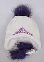Оригинальная детская шапка с пампоном и стразами