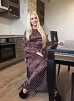 Длинное атласное  платье в белый горох, цвет шоколад. Арт-8962/76