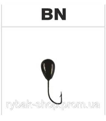 Мормышка вольфрамовая капля с отверстием, цвет чёрный никель