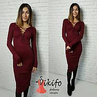 Платье вязаное со шнуровкой на груди облегающее миди разные цвета SMf810