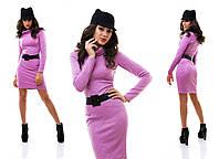 Теплое трикотажное платье в рифленый рисунок