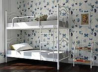 Кровать детская металлическая Диана 2 яруса на деревянных ногах