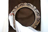 Круглая рамка жемчужно белая, коричневая, аренда декора
