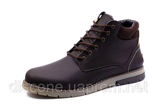Ботинки зимние H.Denim, мужские, на меху, натуральная кожа, коричневые