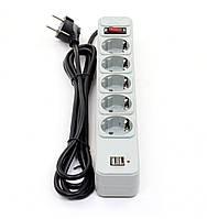 Сетевой фильтр Maxxtro PWE-05K-5 4.8м 5 розеток USB зарядка 2А
