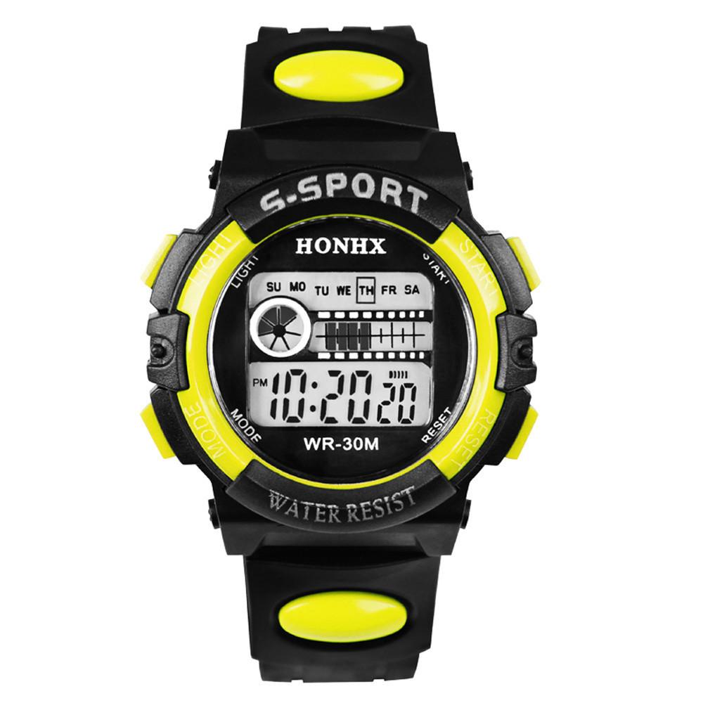 Спортивні годинник з секундоміром, будильником і неоновим підсвічуванням (∅40 мм) Honhx-Line yellow