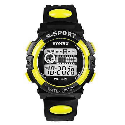 Спортивні годинник з секундоміром, будильником і неоновим підсвічуванням (∅40 мм) Honhx-Line yellow, фото 2