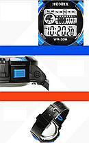 Спортивні годинник з секундоміром, будильником і неоновим підсвічуванням (∅40 мм) Honhx-Line yellow, фото 3