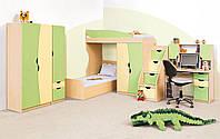 Корпусная мебель для детской комнаты Саванна + двухъярусная кровать, подростковая мебель