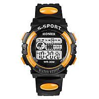 Спортивные часы с секундомером, будильником и неоновой подсветкой (∅40 мм) Honhx-Line orange