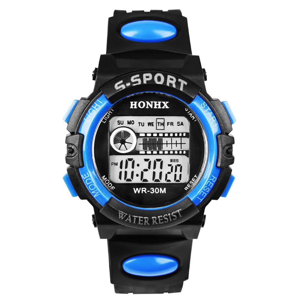 Спортивные часы с секундомером, будильником и неоновой подсветкой (∅40 мм) Honhx-Line blue