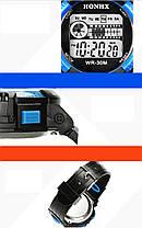 Спортивные часы с секундомером, будильником и неоновой подсветкой (∅40 мм) Honhx-Line blue, фото 3