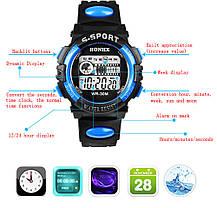 Спортивные часы с секундомером, будильником и неоновой подсветкой (∅40 мм) Honhx-Line blue, фото 2