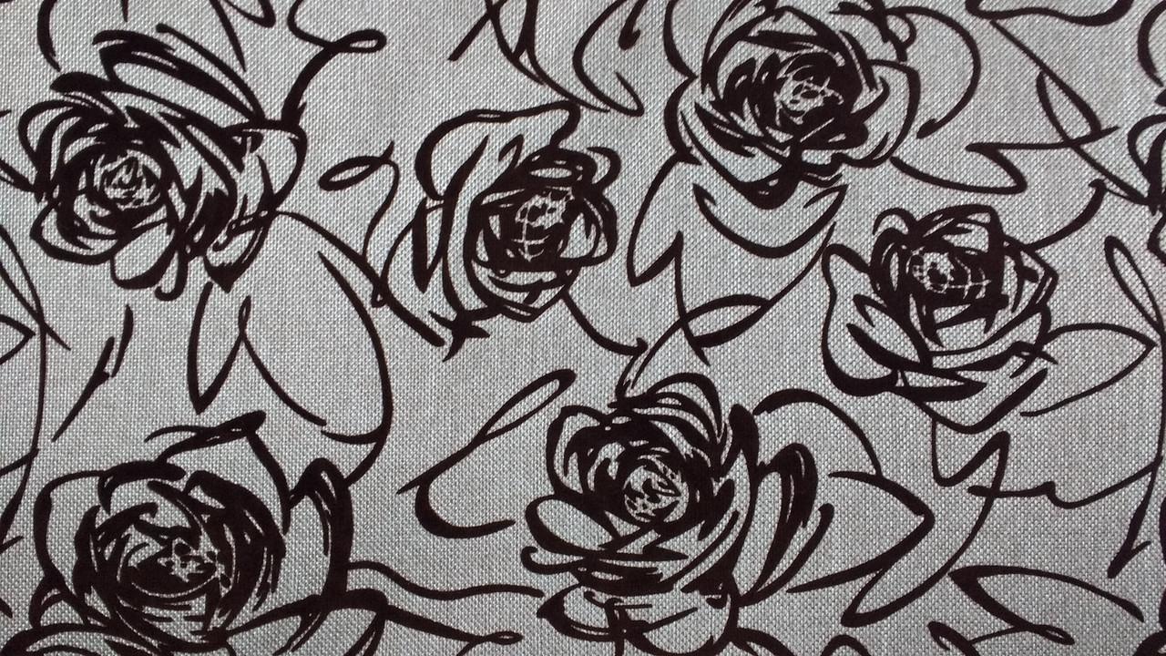 Мебельная рогожка с флоком ткань Флавер беж