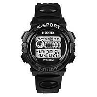 Спортивные часы с секундомером, будильником и неоновой подсветкой (∅40 мм) Honhx-Line black