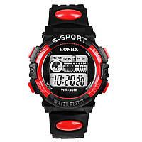 Спортивные часы с секундомером, будильником и неоновой подсветкой (∅40 мм) Honhx-Line red