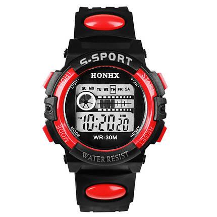 Спортивные часы с секундомером, будильником и неоновой подсветкой (∅40 мм) Honhx-Line red, фото 2
