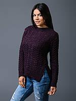 Свитер женский фиолет ажурная вязка 44-48