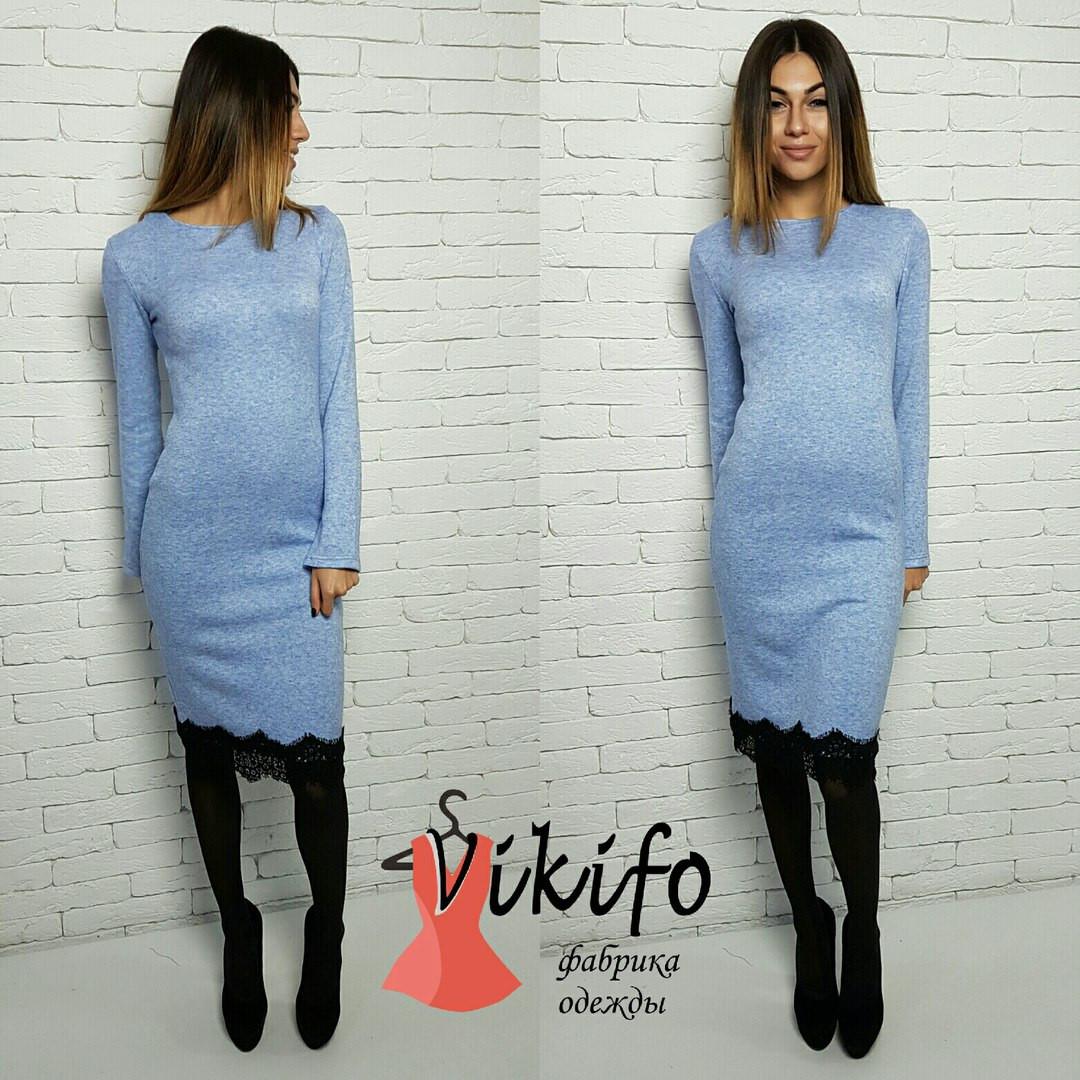 Платье вязаное с кружевом плотная ангора миди 3 цвета SMf811 ... d05667b97c4