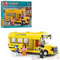 Конструктор SLUBAN Школьный автобус, фигурки 3шт 219дет в коробке 33х24х5,5см M38-B0507
