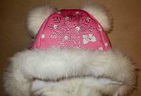 Зимняя шапочка для девочек на меху и толстом флисе.   До 3-х лет