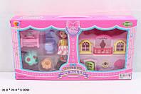 Домик 8095-6 с  куколкой, мебелью, в кор. 38*20*6см