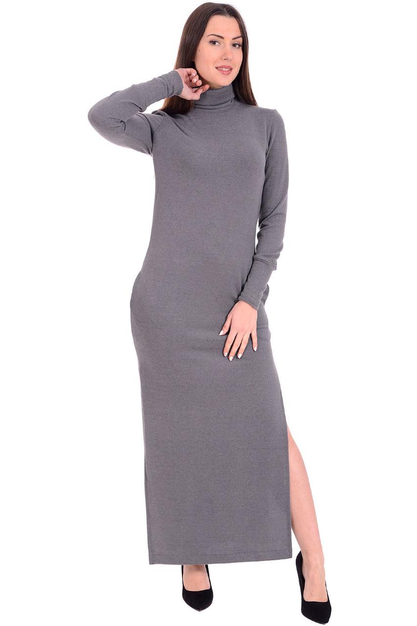 Платье макси с боковыми разрезами и карманчиками