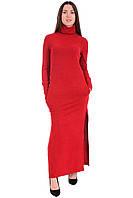 Длинное платье с карманами красное