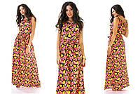 Длинный сарафан платье в пол яркие принты