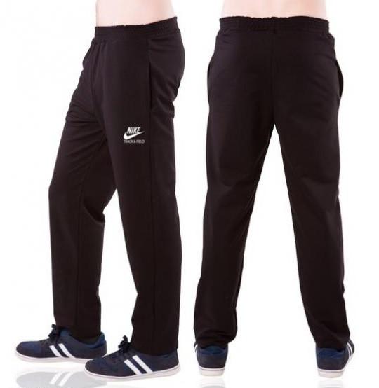 Спортивные штаны с логотипом в стиле Найк(Nike) мужские трикотажные черные прямые Украина