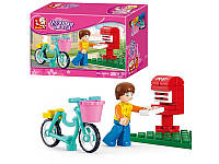 Конструктор SLUBAN Фигурка, велосипед, почтовый ящик 29дет. в коробке 14х9,5х4,5см M38-B0516