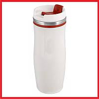 Термокружка вакуумная Белая с красным 400 мл.