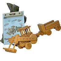 """Эко-конструктор """"Трактор""""  уп.мишок (мешковина,) на соединительных элементах + молоточек"""