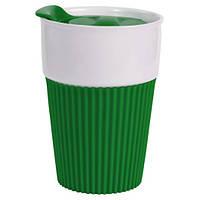 Керамическая чашка с крышкой Зеленая
