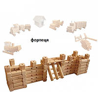 """Эко-конструктор """"Крепость"""" уп.мишок (мешковина,) на соединительных элементах + молоточек"""