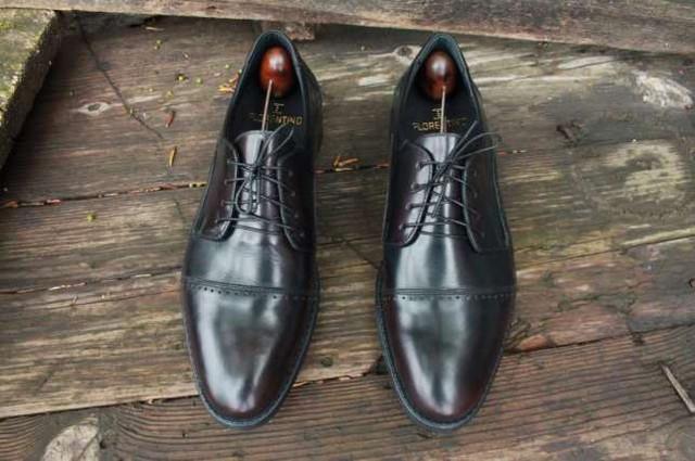 Мужские кожаные туфли темно-вишневые made in Italy