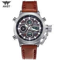 Мужские военные наручные часы Амст / AMST модель - 3003 Оригинал. Silver