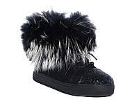 Замшевые зимние женские ботинки с мехом и стразами