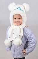 Теплый детский набор из шапки и шарфа с помпонами