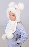 Красивый детский набор из шапки и шарфа с помпонами