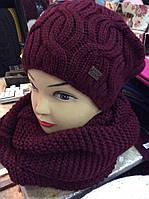 Набор шапка и шарф - хомут восьмерка (разные цвета)