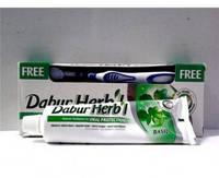 """Зубная паста - базилик Dabur HERB""""L 150 гр+ Зубная щётка в подарок!"""