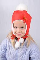 Детская зимняя шапка для девочки на завязках