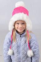 Качественная зимняя шапка для девочки с помпонами