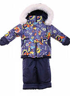 Детский зимний костюм на овчине-подстежке (от 6 до 18 месяцев) Синие машинки