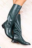 Зимние сапоги женские кожаные на маленьком каблуке изумрудного цвета, европейка