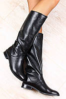 Зимние сапоги женские кожаные на маленьком каблуке черного цвета, европейка