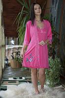 Красивый женский комплект для дома из ночнушки и халата