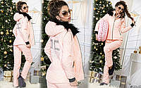 Женский стеганый костюм тройка (тройка: куртка+жилет+штаны)
